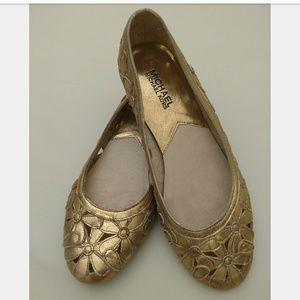Michael Kors Gold Laser Cut Floral Ballet Flats